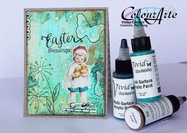 Easter mixed media cards for DT ColourArte with Vivid Ultra Metallics